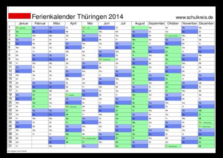 Thüringen: Kalender 2014 als PDF: Jahreskalender kostenlos drucken