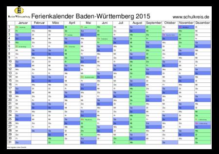 Schulferien Kalender Baden Württemberg Bw 2015 Mit Feiertagen Und