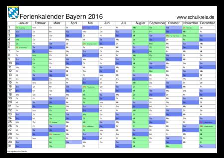 jahreskalender, ferienkalender: bayern