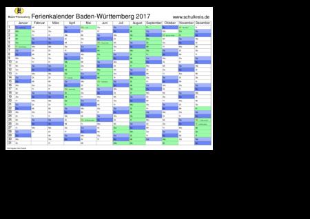 Ferien Kalender 2016 2017 Bewegliche Feiertage - Holiday and Vacation