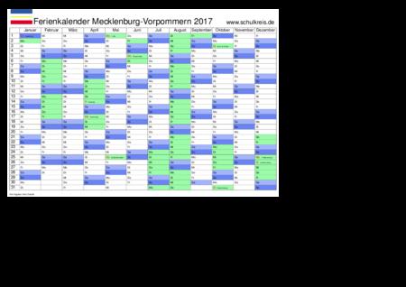 jahreskalender, ferienkalender: mecklenburg-vorpommern