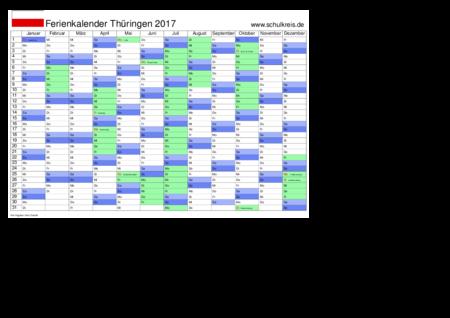Schulkreis.de Schulferien-Kalender Thüringen 2017 Feiertage,Ferien