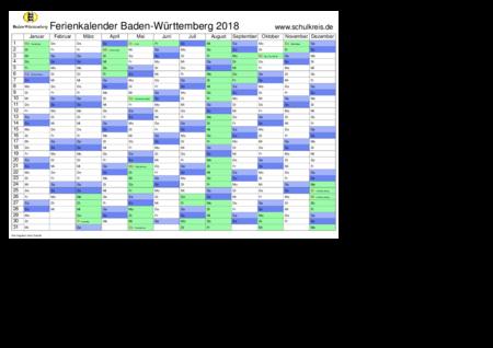 jahreskalender, ferienkalender: baden-wuerttemberg