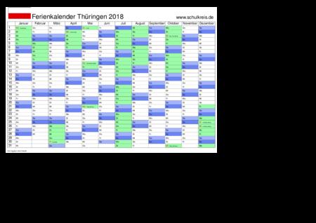 jahreskalender, ferienkalender: thueringen